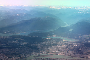 Burnaby and Coquitlam BC from the air